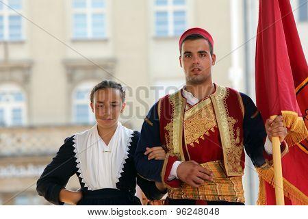 ZAGREB, CROATIA - JULY 18: Members of folk group Marko Marojica from Zupa Dubrovacka, Croatia during the 49th International Folklore Festival in center of Zagreb, Croatia on July 18, 2015