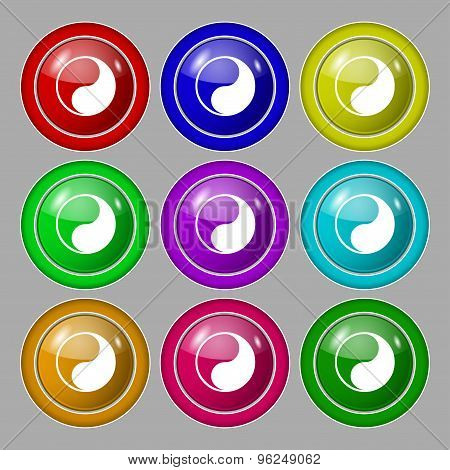 Yin Yang Icon Sign. Symbol On Nine Round Colourful Buttons. Vector