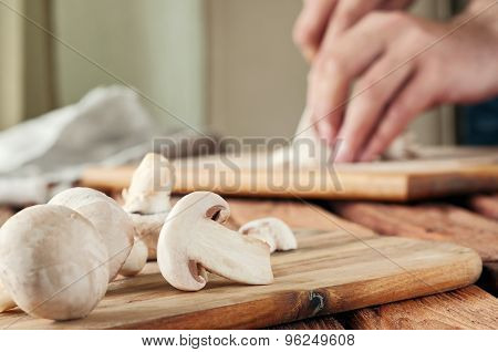 Mushrooms On The Cutting Board