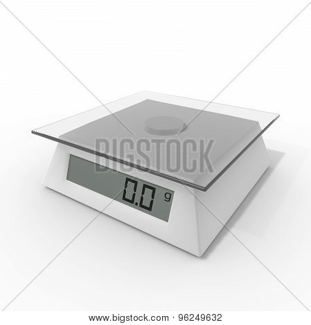 Kitchen Scales On A White Background