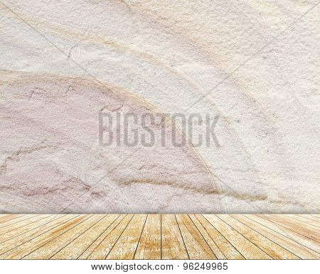 Backdrop stone wall and wood slabs arranged in perspective texture background.