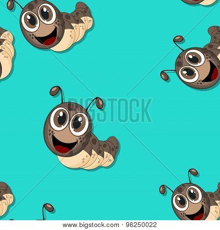 Seamless Pattern With Cartoon Caterpillars