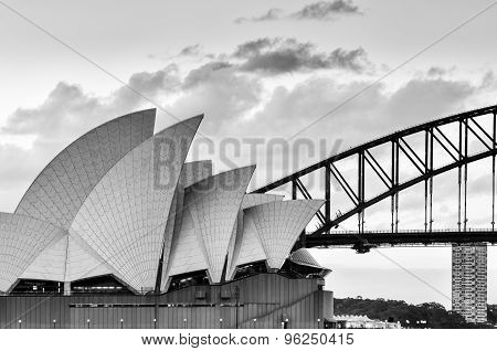 SYDNEY AUSTRALIA - July 28, 2015 :Black and white of Sydney Opera House
