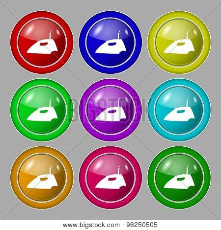 Iron Icon Sign. Symbol On Nine Round Colourful Buttons. Vector