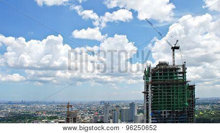 Skyscraper Building Construction Overlooking the City