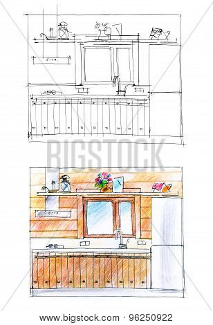 Regular Sketch And Its Color Variant Of A Kitchen In Pale Shades