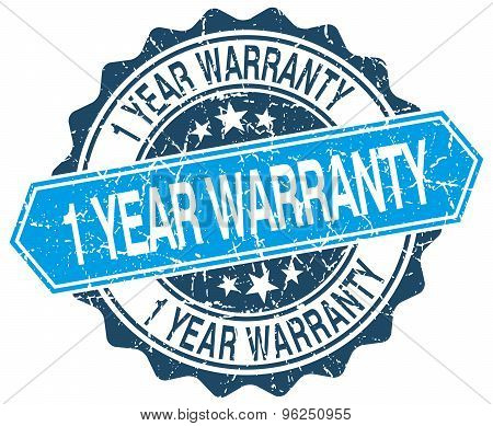 1 Year Warranty Blue Round Grunge Stamp On White