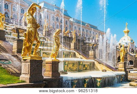 Statue Of Grand Cascade Fountains In Peterhof