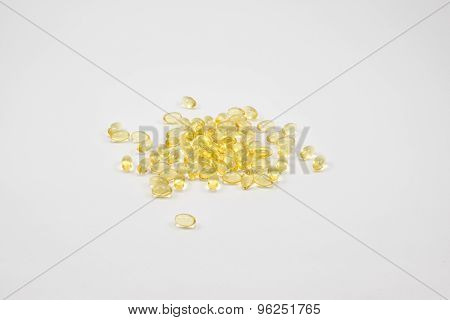 Oil Capsule On White Background