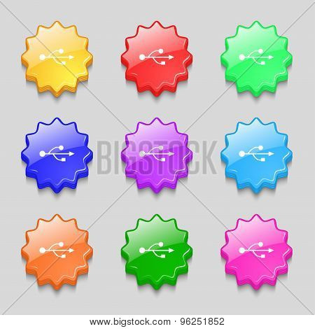 Usb Icon Sign. Symbol On Nine Wavy Colourful Buttons. Vector