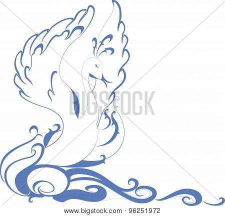Swan floating on the waves. EPS10 vector illustration
