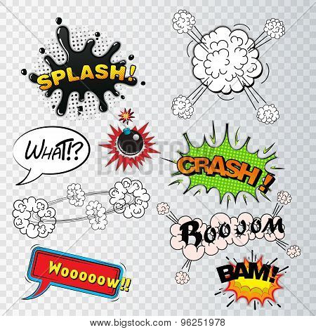 Comic speech bubbles sound effects, cloud explosion vector