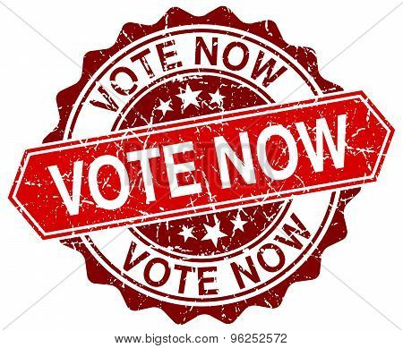 Vote Now Red Round Grunge Stamp On White