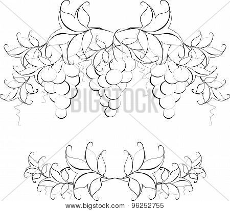 Black and white pattern of vine grapes for page decoration. EPS10 vector illustration