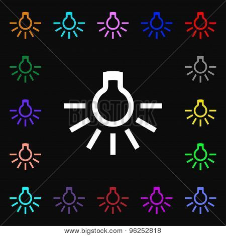 Light Bulb Iconi Sign. Lots Of Colorful Symbols For Your Design. Vector