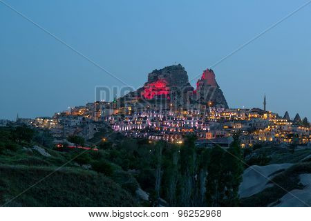 Beautiful View Of The City Of Uchisar And Fortress On The Mountain At Night, Cappadocia