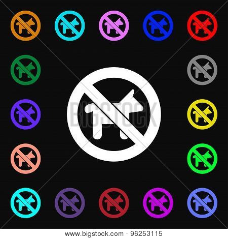 Dog Walking Is Prohibited Iconi Sign. Lots Of Colorful Symbols For Your Design. Vector