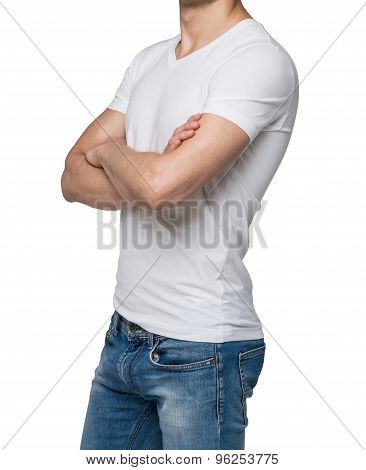 Side View Of A Person In A White V Shape T-shirt With Crossed Hands. Isolated.