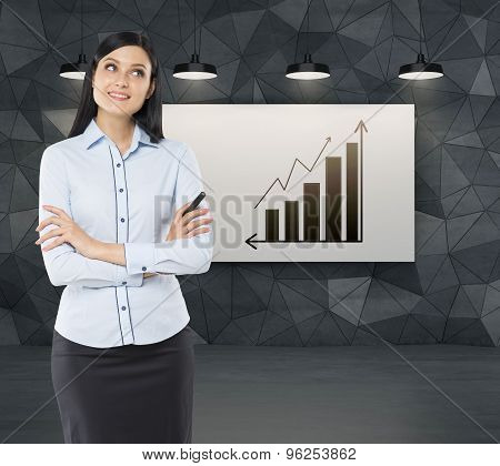 Front View Of A Thoughtful Woman With Crossed Hands. Increasing Bar Chart And An Arrow On The Whiteb