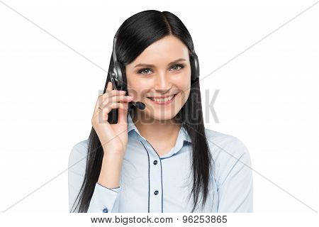Portrait Of Smiling Cheerful Support Phone Operator In Headset. Isolated.
