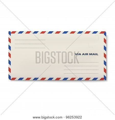 Via Air Mail Dl Envelope Isolated On White Background