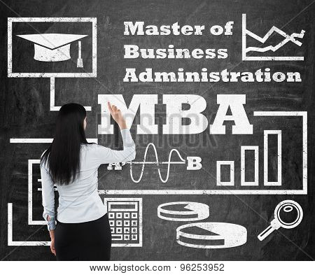 Business Woman Is Drawing A Flowchart About Mba Degree On The Black Chalk Board