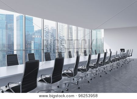 Panoramic Conference Room In Modern Office, Singapore View. Black Leather Chairs And A Long White Ta
