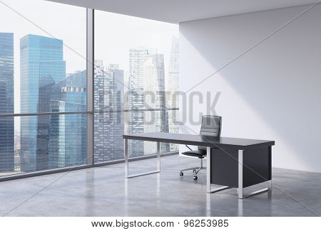 A Workplace In A Modern Panoramic Office, Singapore Business Centre View From The Windows. A Concept