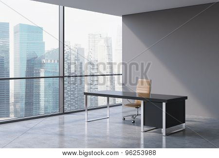 A Workplace In A Modern Panoramic Office, Singapore City View From The Windows. A Concept Of Financi
