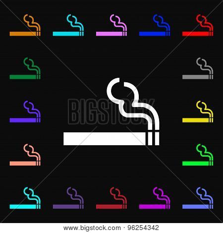 Cigarette Smoke Iconi Sign. Lots Of Colorful Symbols For Your Design. Vector