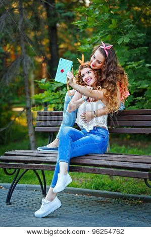 Best Friends Hug. Photos In Park. Group Selfies.