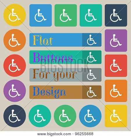 Disabled Icon Sign. Set Of Twenty Colored Flat, Round, Square And Rectangular Buttons. Vector