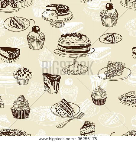 Vector seamless patten with party pastry and sweets
