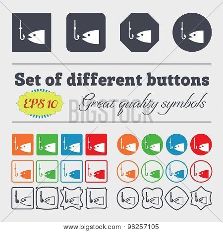 Fishing Icon Sign. Big Set Of Colorful, Diverse, High-quality Buttons. Vector