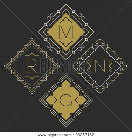 The set of stylish graceful monogram emblem templates. Vector illustration.