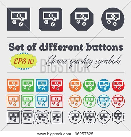 Currencies Of The World Icon Sign. Big Set Of Colorful, Diverse, High-quality Buttons. Vector