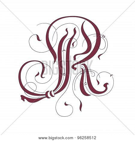 elegant decorative ornate handwriting big letter R