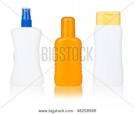 isolated sun lotion bottles set