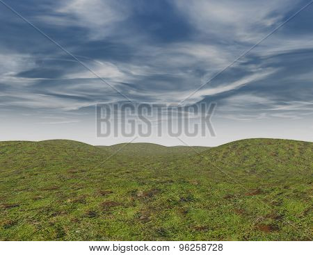 Empty Background With Grass And Blue Sky With Clouds.