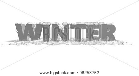 Winter Abstract Concept With 3D Text.