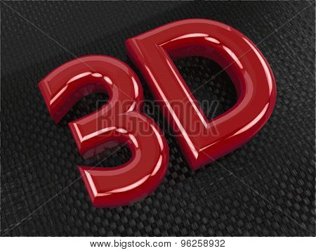 Glossy red 3D logo on carbon background with reflection effect. Vector illustration.