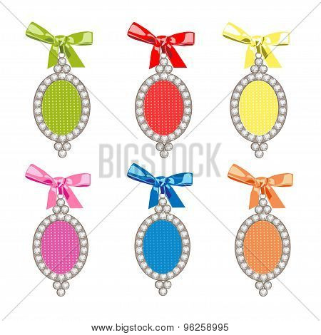 Set of vector glamorous charms. Vector illustration with bows and diamonds