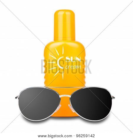 isolated sun cream with glasses