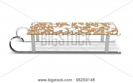 3D Sledge With Snow Isolated On White.