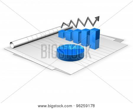 3D Documents And Graphs Render Illustration Isolated.