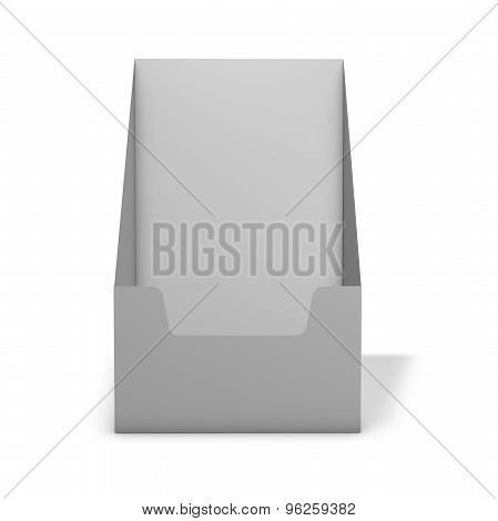 Empty Leaflet Stand Holder, 3D Render, Isolated On White.