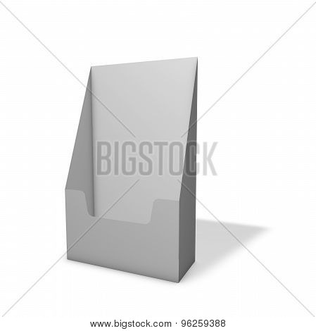 Blank Leaflet Display Holder Standing On Floor, Isolated On White.