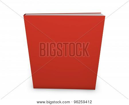Blank Magazine Publication With Empty Red Cover. Copy Space For Any Illustration. Standing On Floor