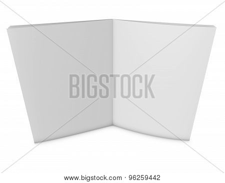 Open Publication With Blank Pages Standing And Isolated On White.
