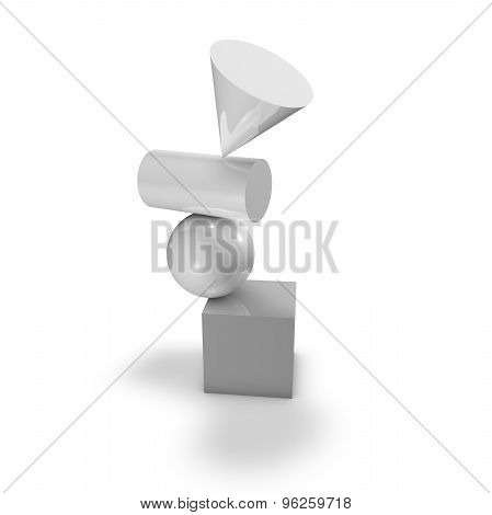 Pile Of 3D Shapes Isolated On White, Impossible Symbol Concept.